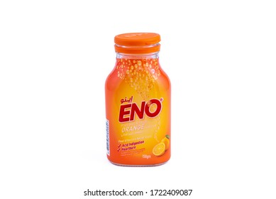 DOHA, QATAR - MAY 5, 2020: ENO Fruit Salt Antacid Orange Flavour. ENO is a fast effective release from acid indigestion and heartburn by company GlaxoSmithKlin