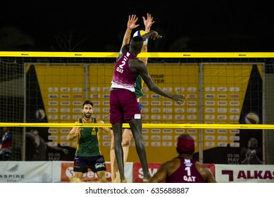 DOHA, QATAR - May 6: athletes during the AVC Beach Tour Qatar Master on May 6, 2017 in Doha, Qatar.