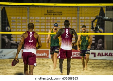 DOHA, QATAR - May 6: athletes during the AVC Beach Tour Qatar Master on May 6, 2017 in Doha, Qatar.