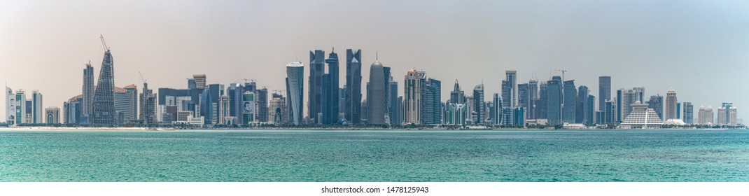 Doha, Qatar / Middle East -  05/05/2019. Architecture and buildings of Doha City Skyline.
