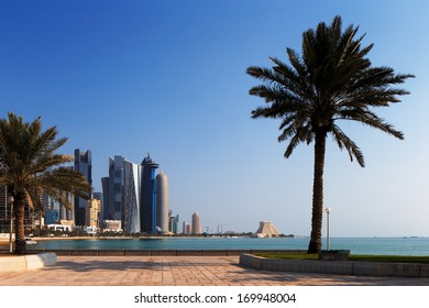DOHA, QATAR - NOV 15: Iconic new towers grace the skyline of the West Bay area of Doha on Nov 15, 2013 in Doha, Qatar. The West Bay is considered as one of the most prominent districts of Doha