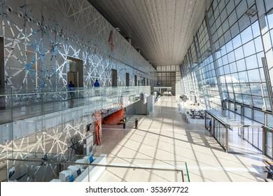 DOHA, QATAR - NOV 19: Interior of the DECC - Doha Exhibition and Convention Centre. November 19, 2015 in Doha, Qatar, Middle East