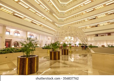 DOHA, QATAR - NOV 19: Interior of the Sheraton hotel lobby in Doha. November 19, 2015 in Doha, Qatar, Middle East