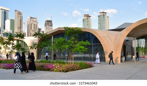 Doha, Qatar - Nov 21. 2019. Outdoor lobby DECC metro station