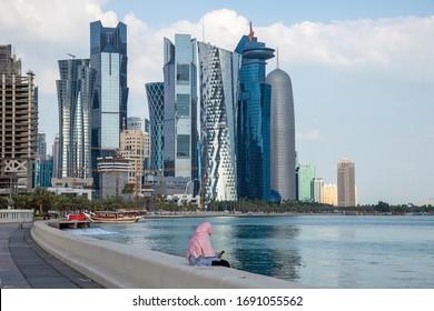 Doha, Qatar - Nov 21. 2019. Cornishe Tourist Quay and West Bay Business Center