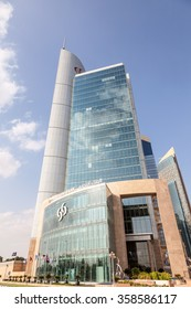 DOHA, QATAR - NOV 21: Commercial Bank of Qatar headquarters building in Doha downtown district. November 21, 2015 in Doha, Qatar, Middle East