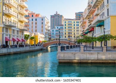 Doha, Qatar - Nov 23. 2019. District Qanat Quartier on Pearl Island