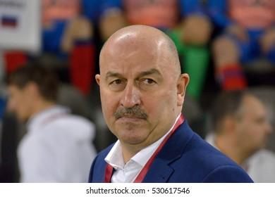 DOHA, QATAR - NOVEMBER 10, 2016. Russian international football team manager Stanislav Cherchesov during international friendly Qatar vs Russia (2-1) at Al Sadd stadium in Doha.