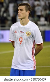 DOHA, QATAR - NOVEMBER 10, 2016. Russian international striker Aleksandr Kokorin before international friendly Qatar vs Russia (2-1) at Al Sadd stadium in Doha.
