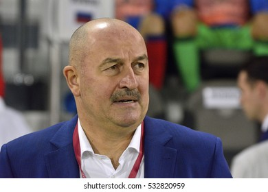 DOHA, QATAR - NOVEMBER 10, 2016. Russian international football team manager Stanislav Cherchesov during international friendly Qatar vs Russia (2-1) at Al Sadd stadium in Doha.