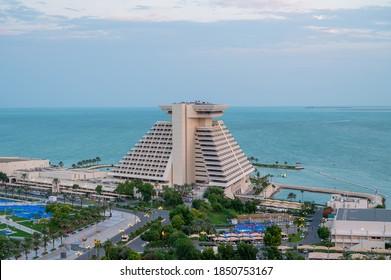 Doha, Qatar - November 10, 2020:  The Sheraton Grand Hotel on West Bay Doha  Corniche