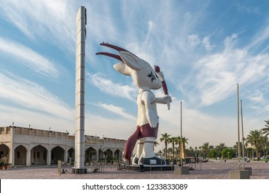 DOHA, QATAR - NOVEMBER 19, 2018: Giant statue of Orry, 15th Asian Games Mascot, at the Corniche in Doha, Qatar, Middle East.
