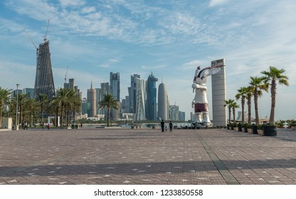DOHA, QATAR - NOVEMBER 19, 2018: Panoramic view on financial center of Doha from West Bay. Doha is a city on the coast of the Persian Gulf, the capital and largest city of the Arab state of Qatar.