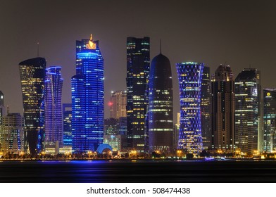 DOHA, QATAR - NOVEMBER 2: The West Bay City skyline at night as seen from Museum of Islamic Art Park on November 2, 2016 in Doha, Qatar.