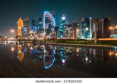 DOHA, QATAR - NOVEMBER 20, 2017: Doha West Bay view from Sheraton Park, Doha, Qatar, Middle East.