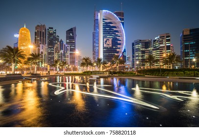 DOHA, QATAR - NOVEMBER 20, 2017: Doha West Bay view from Sheraton Park, Doha, Qatar, Middle East.