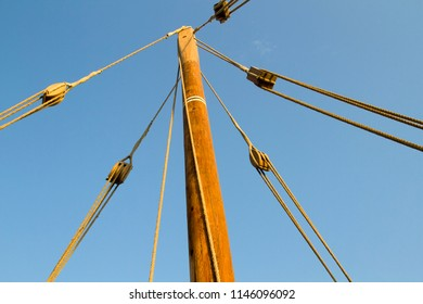 Doha - Qatar/ November 2014: Mast and ropes of an traditional Qatari Dhow anchoring near Katara beach during an annual festival.