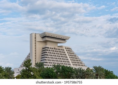 DOHA, QATAR - NOVEMBER 2018: The Sheraton Grand Hotel on West Bay Doha. It is on of the oldest hotel in Qatar.