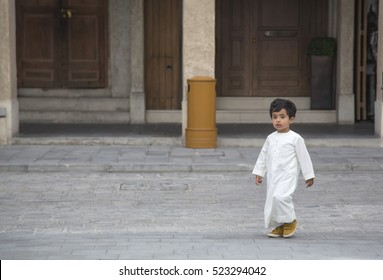 Doha, Qatar, November, 25th, 2016:  Qatari kid in traditional outfit