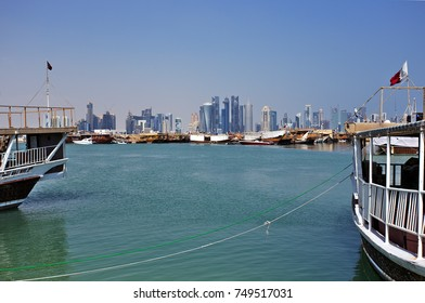 DOHA, QATAR - NOVEMBER 6, 2017: View of Doha Bay from the Corniche, with the distant business towers forming the skyline