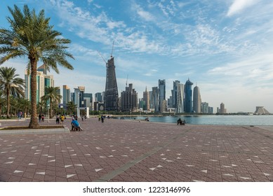 DOHA, QATAR - NOVEMBER 7, 2018: Financial centre in Doha - capital and most populous city in Qatar, West Bay, Persian Gulf, Middle East.