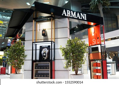 DOHA, QATAR - OCT 31, 2019: View of Armani perfumes and cosmetics store at Hamad International Airport (HIA). It is an Italian luxury fashion house founded by Giorgio Armani.