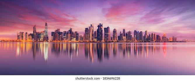 Doha, Qatar - October 14, 2020: The Panoramic skyline of Doha, Qatar during sunrise