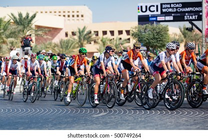 Doha, Qatar - October 15, 2016: The elite women's road race of the UCI Road World Championships begins on the Education City campus.