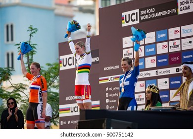 Doha, Qatar - October 15, 2016: The podium in the women's road race at the UCI Road World Championships: Amalie Dideriksen (first), Kirsten Wild (second), and Lotta Lepistö (third).