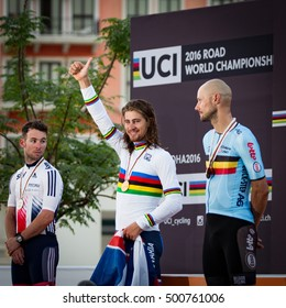Doha, Qatar - October 16, 2016: Peter Sagan outsprinted Mark Cavendish (silver) and Tom Boonen (bronze) to claim the gold medal in the elite men's road race at the UCI Road World Championships.