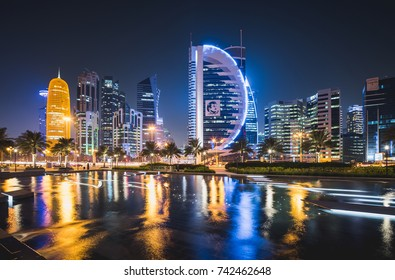 DOHA, QATAR - OCTOBER 26: The skyline of the West Bay area of Doha on October 26, 2017 in Doha, Qatar, Middle East.