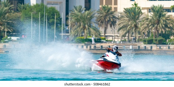 Doha, Qatar - October 29, 2016: Water racing competition on doha corniche under the organized by Qatar Sailing and Marine Sports Federation on October 29, 2016.