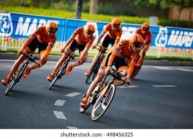 Doha, Qatar - October 9, 2016: Polish team CCC competes in the men's team time trial at the UCI Road World Championships.
