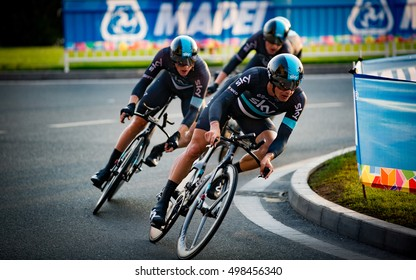 Doha, Qatar - October 9, 2016: Team Sky rounds the corner in today's team time trial at the UCI Road World Championships, finishing fourth on the day.