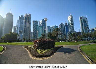 Doha qatar on 20th February 2020 :cityscape of Qatar doha corniche with modern architectural design buildings.