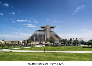 Doha, Qatar on 26th Feb 2018: The Sheraton Grand Hotel on West Bay with its distinct pyramid shape was the first western hotel to be built in Doha in 1978 and has the key location on the Corniche