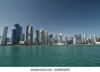 Doha qatar on 27th February 2020 :cityscape of Qatar doha corniche with modern architectural design buildings.