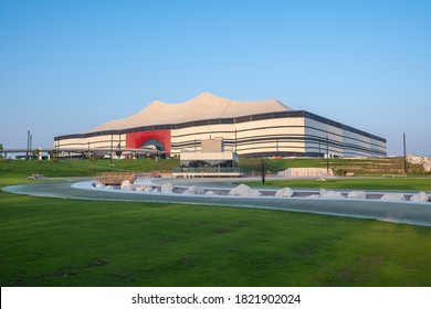 DOHA, QATAR - SEPT 26, 2020: Al Bayt Stadium, also known as Al Khor Stadium, is a currently under construction stadium that is getting built to serve as a playing venue of the 2022 World Cup in Qatar.