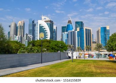 Doha, Qatar - September 1 2019: Skyscraper architecture of the capital of Qatar - Doha