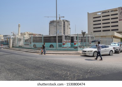 Doha, Qatar - September 1 2019: Old city center of Doha city. Souq Waqif, Al Souq. Architecture, streets and buildings of the capital of Qatar
