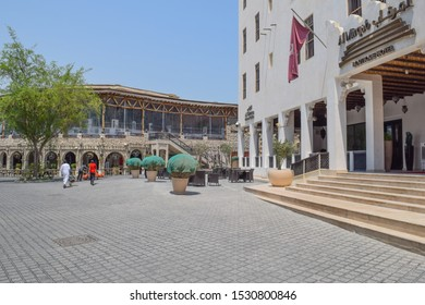 Doha, Qatar - September 1 2019: Al Mirqab. Boutique Hotel. Old city center of Doha city. Souq Waqif, Al Souq. Architecture, streets and buildings of the capital of Qatar