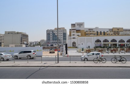 Doha, Qatar - September 1 2019: Al Najada Hotel. Old city center of Doha city. Souq Waqif, Al Souq. Architecture, streets and buildings of the capital of Qatar
