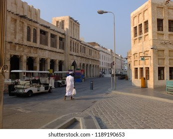 DOHA, QATAR - SEPTEMBER 10, 2018: Souq street in Souq Waqif neighborhood, restored historical area with perfect examples of authentic residential and trade buildings, in Doha, Qatar.
