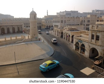 DOHA, QATAR - SEPTEMBER 10, 2018: Aerial view of Souq Waqif Mosque and road, in Doha, Qatar.