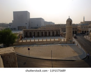 DOHA, QATAR - SEPTEMBER 10, 2018: Aerial view of Souq Waqif Mosque and urban surroundings, in Doha, Qatar.
