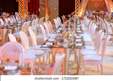 Doha, Qatar - September 10, 2019: Interior of a wedding stage and tent decoration ready for guests