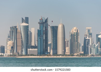 DOHA, QATAR - SEPTEMBER 2018: Military performances to celebrate the National Day of the State of Qatar on December 18, 2018.