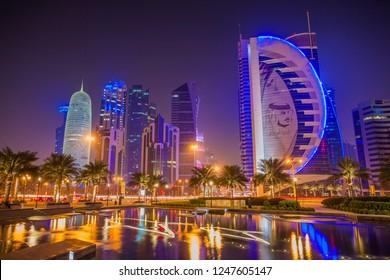 DOHA, QATAR - September 29, 2018: Doha West Bay view from Sheraton Park, Doha, Qatar, Middle East.
