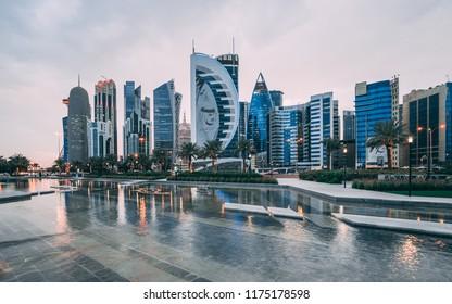 DOHA, QATAR - SEPTEMBER 9, 2018: Doha West Bay view from Sheraton Park, Doha, Qatar, Middle East.