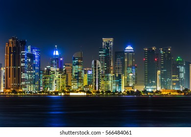 Doha Qatar Skyline at night